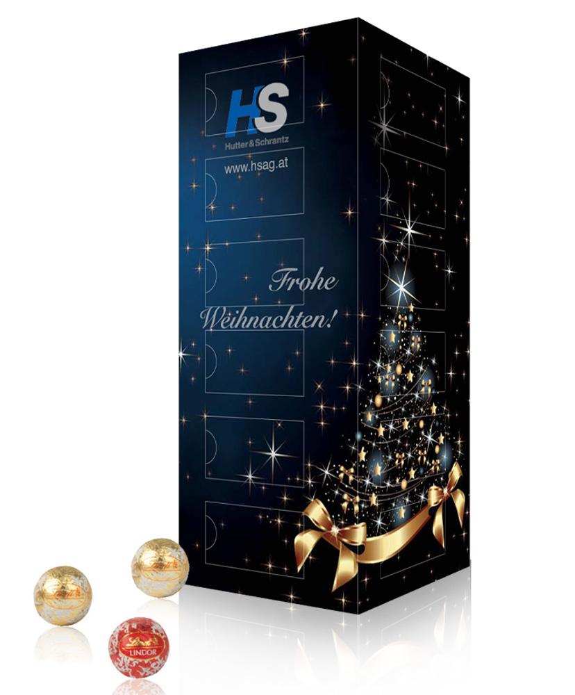 Weihnachtskalender mit Mini-Schokokugeln